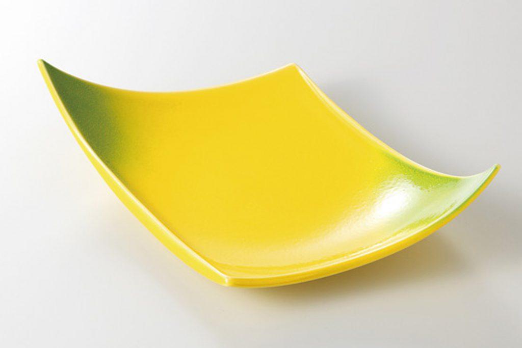 黄釉ヒワ吹 菱型前菜皿