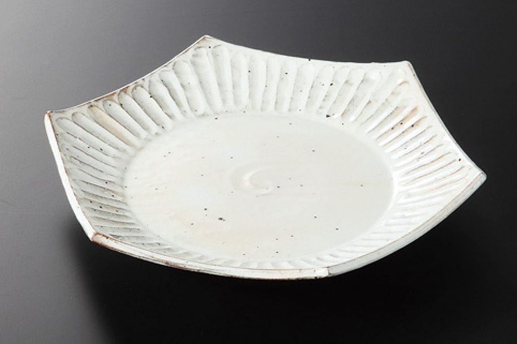 粉引削ぎ目 六角皿(小)
