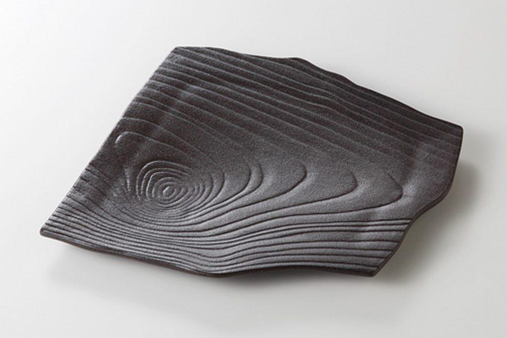 炭化 木目変形角皿