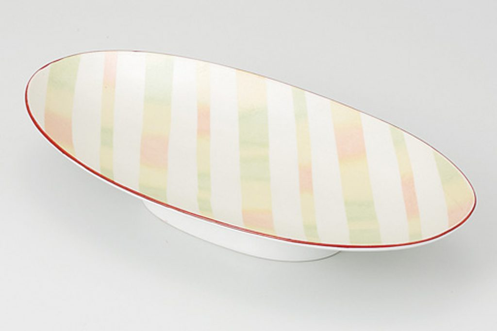 淡彩ストライプ 楕円高台皿
