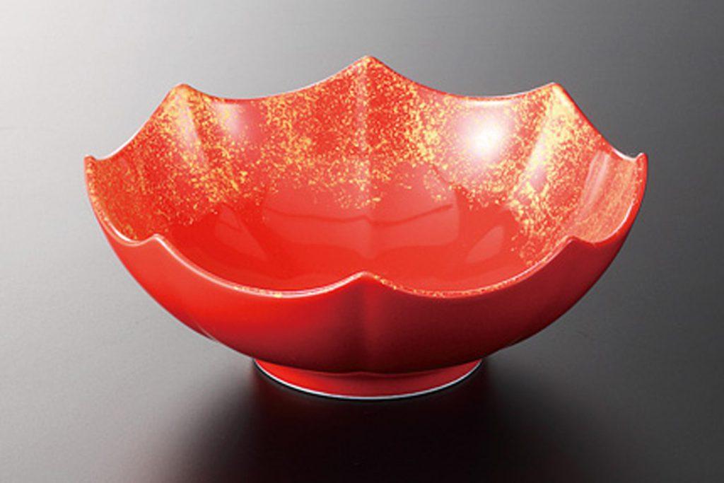 赤釉金タタキ 八角鉢