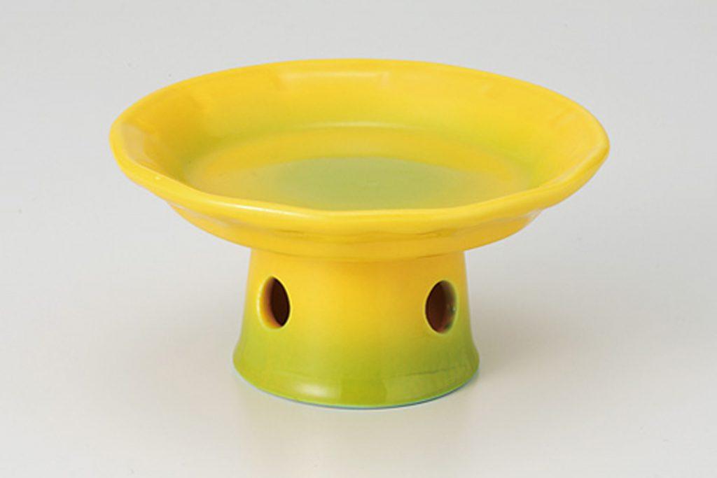 黄釉グリーン吹 高台小鉢