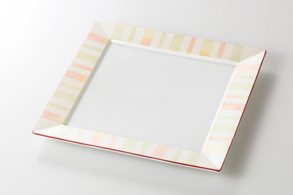 淡彩ストライプ 正角6.0皿