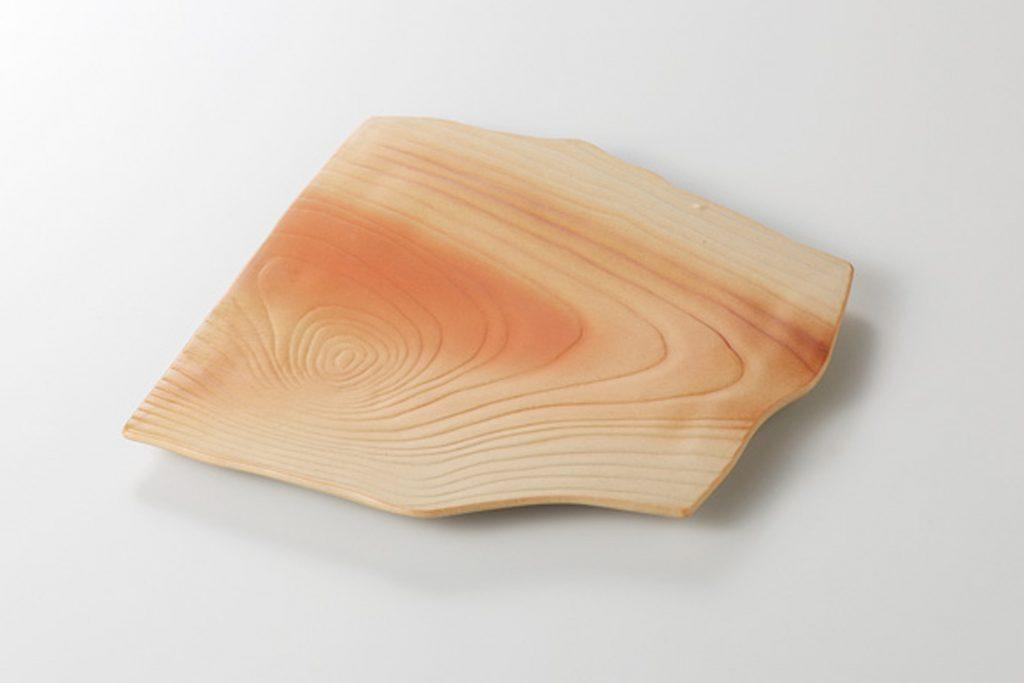 木肌 木目変形角皿