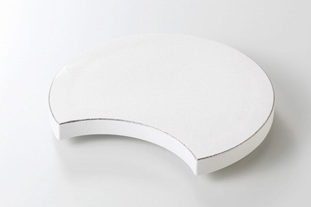 プラチナ白吹 半月6.3寸皿