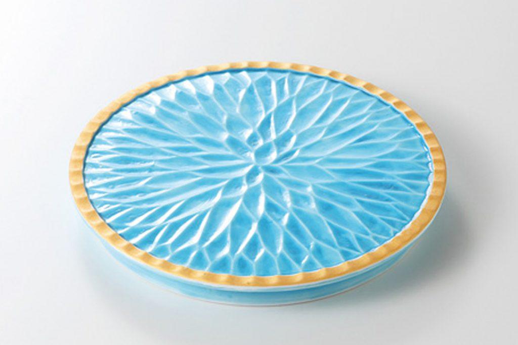 青釉一刀彫 高台丸皿