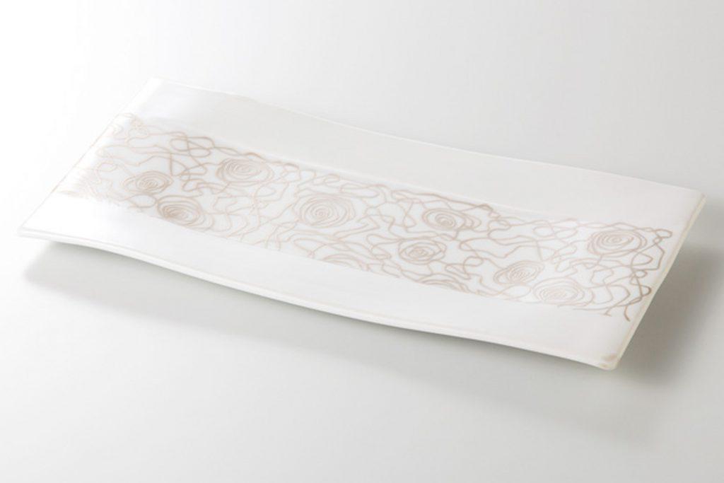銀彩アラベスク 長角大皿