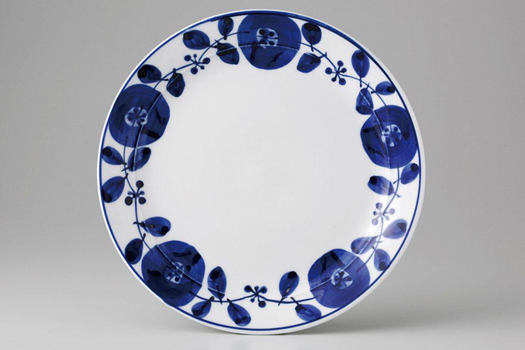藍染花紋 リムプレート小