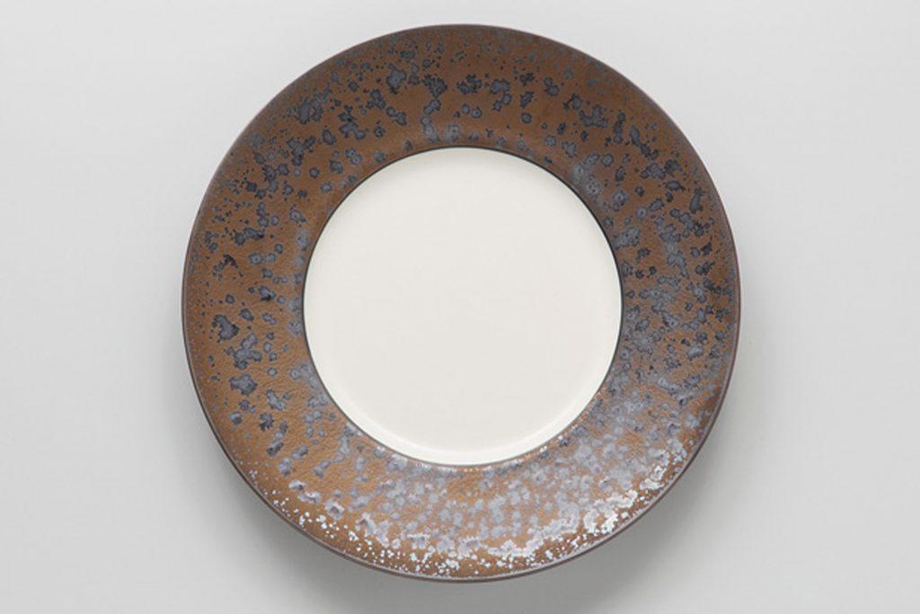 金結晶 リム丸皿(中)