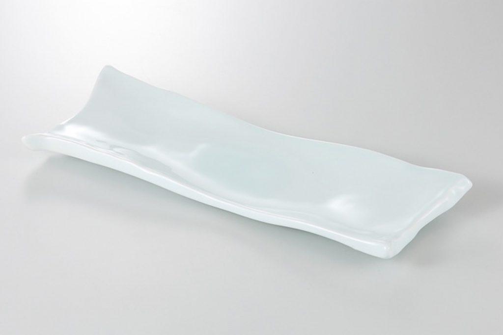 青白瓷 削ぎ長皿