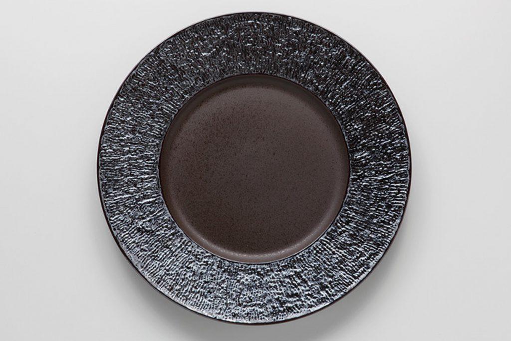 炭化虹彩 リム丸皿(大)
