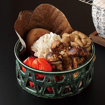 手造り織部 カゴメ鉢(小)