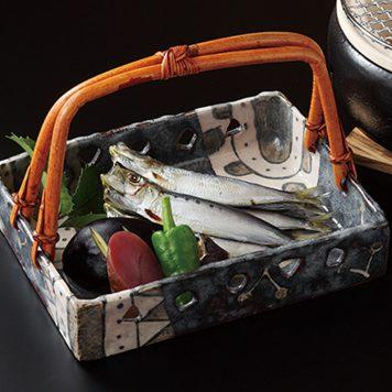 鼠志野 手付長角鉢
