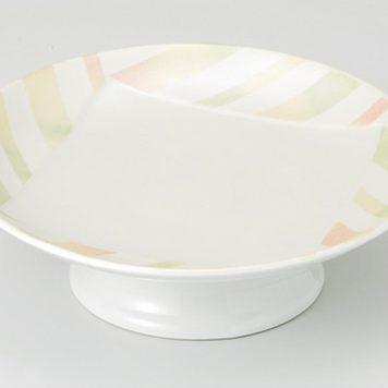 淡彩ストライプ 高台皿